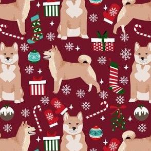 shiba inu christmas fabric - dog christmas, holiday fabric, dog fabric - ruby