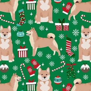 shiba inu christmas fabric - dog christmas, holiday fabric, dog fabric - green