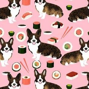 brindle corgi sushi fabric - dog sushi fabric, brindle corgi fabric, corgi fabric - pink