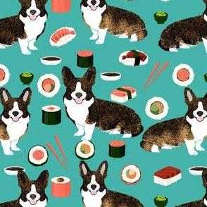 brindle corgi sushi fabric - dog sushi fabric, brindle corgi fabric, corgi fabric - teal