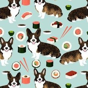 brindle corgi sushi fabric - dog sushi fabric, brindle corgi fabric, corgi fabric - blue