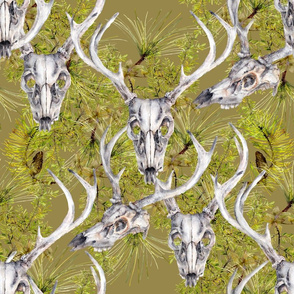 camouflage antlers and deer skulls