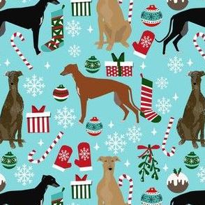 greyhounds christmas dog fabric - christmas fabric, dog fabric, christmas dog fabric - blue