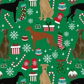 greyhounds christmas dog fabric - christmas fabric, dog fabric, christmas dog fabric - green