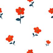 Vintage Scarlet Flowers