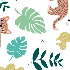 Kids colorful jaguar wildcat jungle botanical leaves cactus and monstera tiger animals boys LARGE rotated flipped