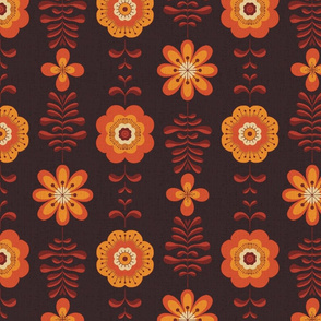 Retro groovy flowers in yellow orange brown
