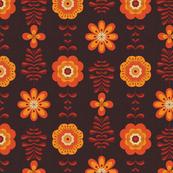 Retro groovy flowers in yellow orange brown