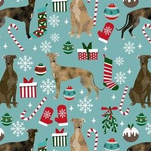 brindle greyhound fabric - christmas dog fabric, christmas fabric, brindle greyhounds fabric - blue