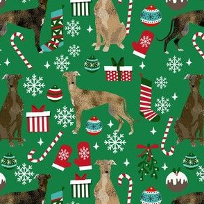 brindle greyhound fabric - christmas dog fabric, christmas fabric, brindle greyhounds fabric - green