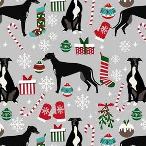 black and white greyhound christmas fabric - christmas dog fabric, greyhound fabric, holiday fabric, christmas fabric - grey