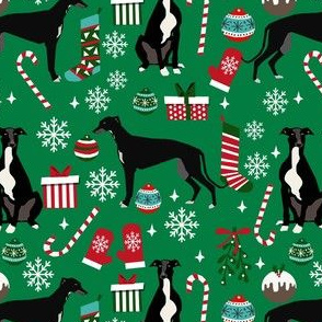 black and white greyhound christmas fabric - christmas dog fabric, greyhound fabric, holiday fabric, christmas fabric - green