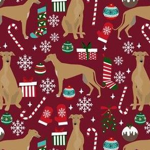 fawn greyhound christmas dog fabric - tan greyhound fabric, greyhound fabric, christmas dog fabric - ruby