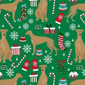 fawn greyhound christmas dog fabric - tan greyhound fabric, greyhound fabric, christmas dog fabric - green