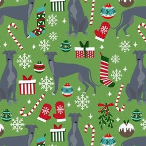 grey greyhound christmas fabric, blue grey greyhound, christmas dog fabric, christmas -  green