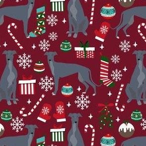 grey greyhound christmas fabric, blue grey greyhound, christmas dog fabric, christmas - ruby