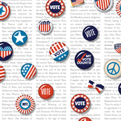 Vote!* (Custom) || u.s. usa america United States voting Election Day president congress senate peace star buttons pinback pin red white blue patriotic text constitution heart patriotism rights typography