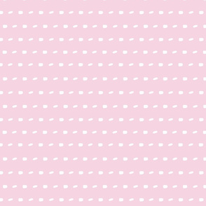 White sewing over pink background seamless surface pattern, broken horizontal lines