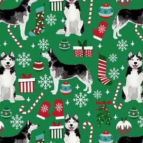 husky christmas fabric - dog christmas, dog christmas fabric, holiday fabric, christmas fabric - green