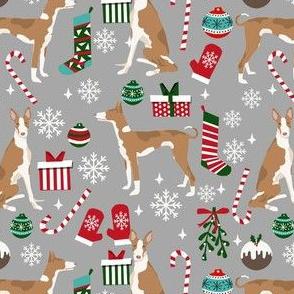 ibizan hound christmas fabric - dog christmas, christmas fabric, hound fabric, ibizan dog fabric - grey