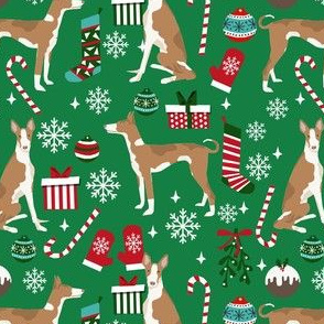ibizan hound christmas fabric - dog christmas, christmas fabric, hound fabric, ibizan dog fabric - green