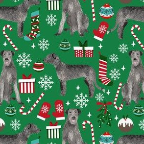 irish wolfhound christmas dog fabric  - christmas fabric, dog fabric, wolfhound fabric - green