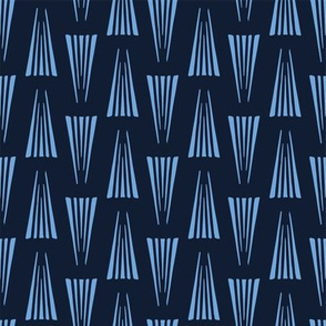 Modern indigo blue geometric hand drawn triangles