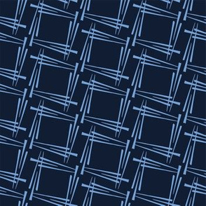 Modern indigo blue geometric hand drawn square.