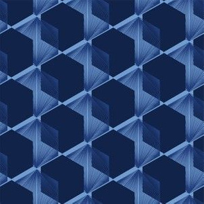 Modern indigo blue geometric hand drawn 3d cube pattern.