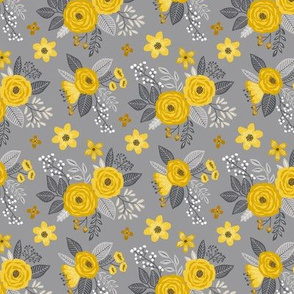 Vintage Antique Floral Flowers Cool Yellow on Grey Smaller Tiny