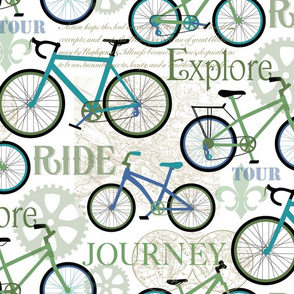 Bicycle Journey Blue and White