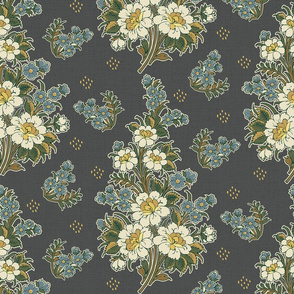 Indian Floral Chintz-Grey-Large