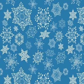 The Winter Wonderland Snowflakes on Blue