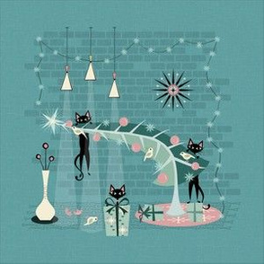 Retro Naughty Kitty Christmas - Squares ©studioxtine
