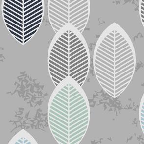 sage light blue leaves on gray jumbo