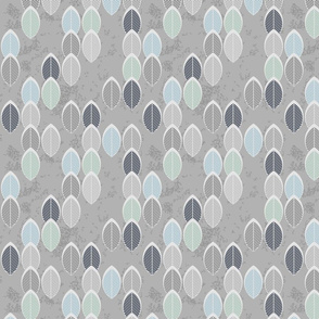 sage light blue leaves on gray regular