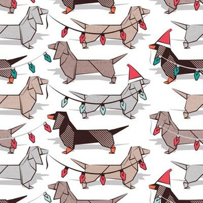 Small scale // Origami Christmas Dachshunds sausage dogs // white background