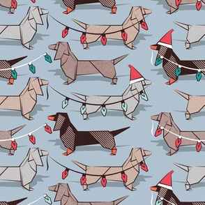 Small scale // Origami Christmas Dachshunds sausage dogs // pale blue background