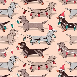 Small scale // Origami Christmas Dachshunds sausage dogs // flesh background