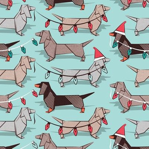 Small scale // Origami Christmas Dachshunds sausage dogs // aqua background