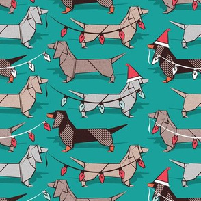 Small scale // Origami Christmas Dachshunds sausage dogs // turquoise green background