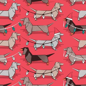 Small scale // Origami Christmas Dachshunds sausage dogs // red background