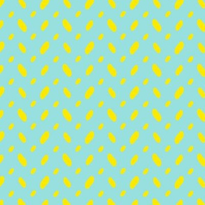 Yellow abstract vector shapes over turquoise seamless pattern