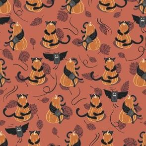 Halloween   pumpkins, black cats and bats