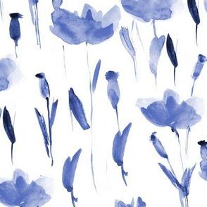 Watercolor indigo poppies