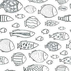 Charcoal hand drawn fishes seamless pattern