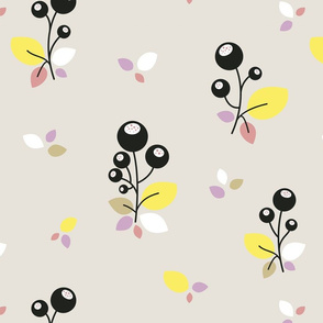 Summer Bubble Flowers on Grey