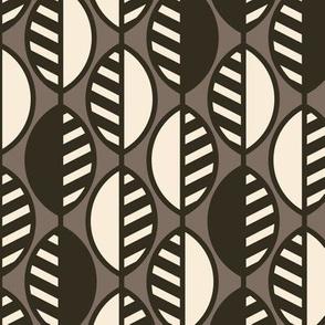 Modern Leaves-Stripes-Mocha