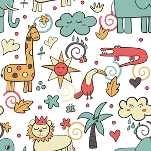 Jungle animal wallpaper large scale