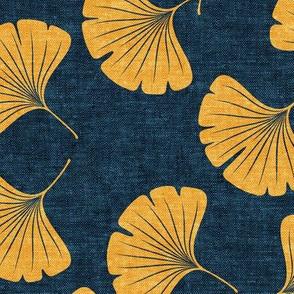 ginkgo leaves - saffron on dark blue - LAD19